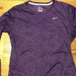 Nike Miler running purple long sleeve tee dri fit